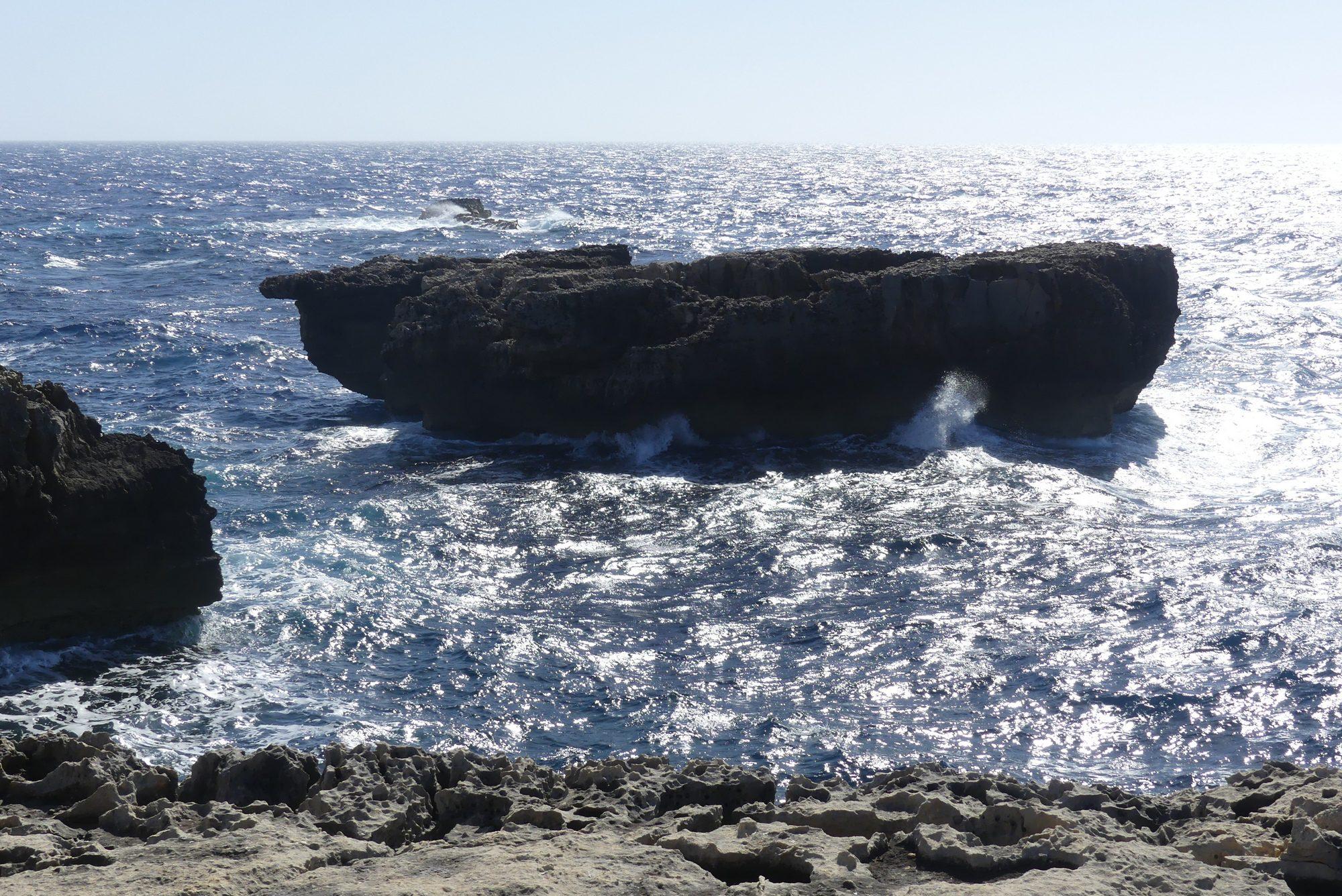 Felsen bei der Azur Window Ruine auf Gozo Malta
