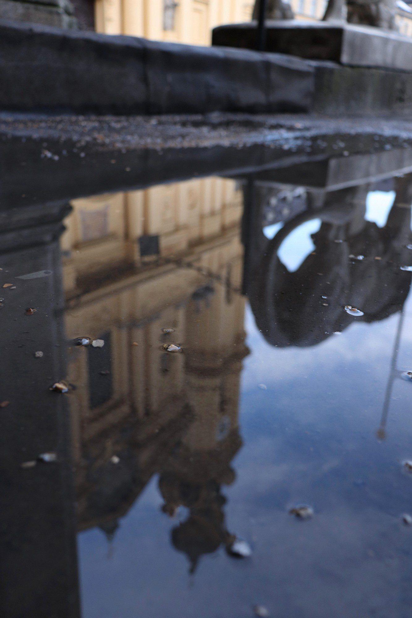 Pfützen-Spiegelung der Theatinerkirche an der Feldherrnhalle in München