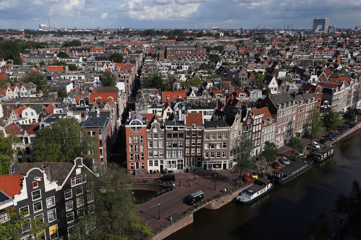 Blick von der Westerkerk über die Prinsengracht und Amsterdam