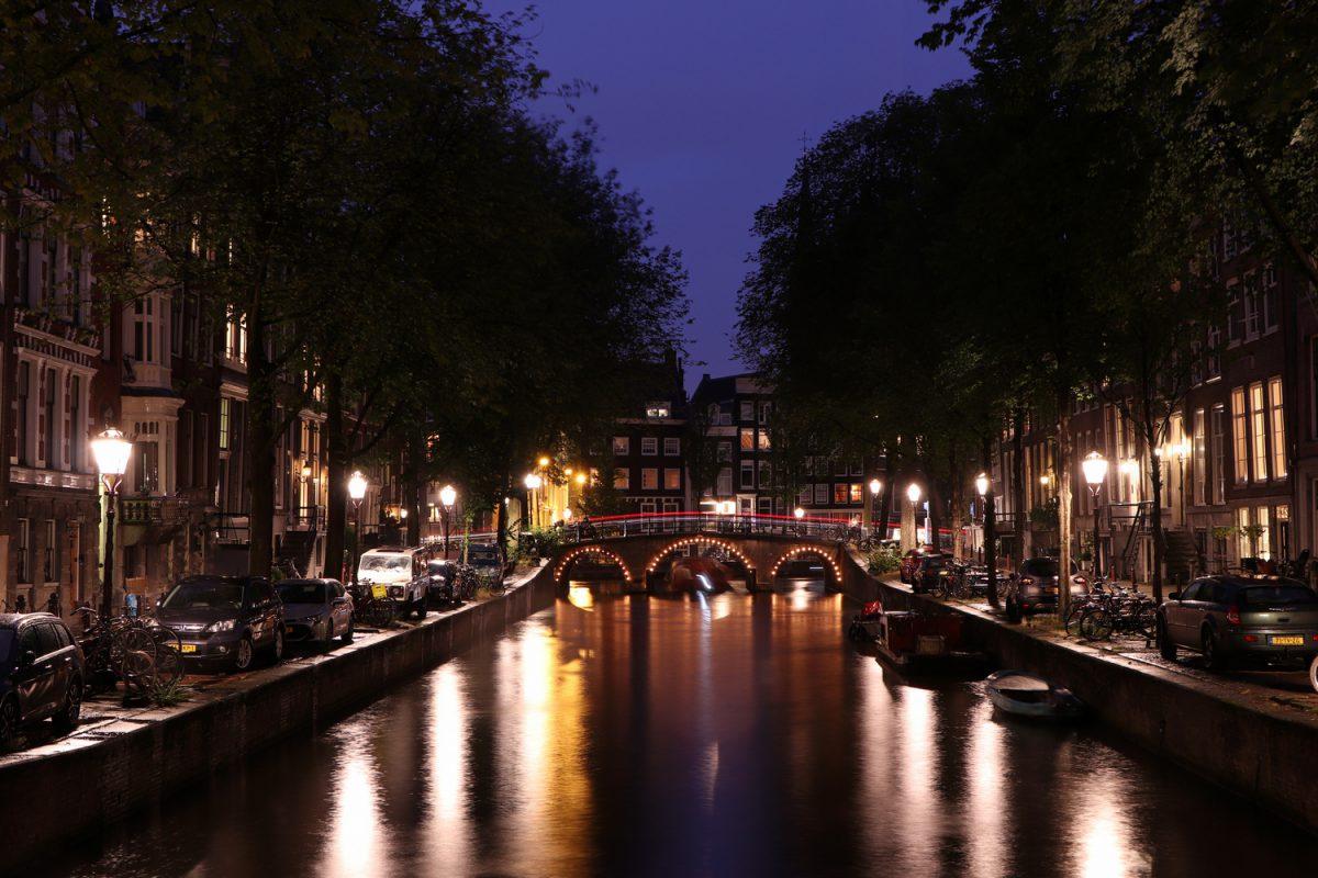 Amsterdam Leidsegracht zur Blauen Stunde