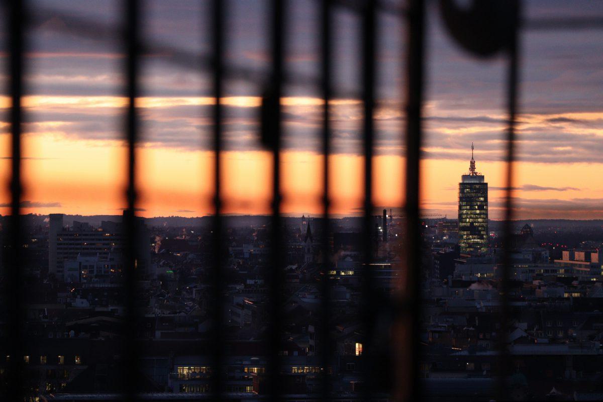 München Blick vom Alten Peter zum Sonnenuntergang