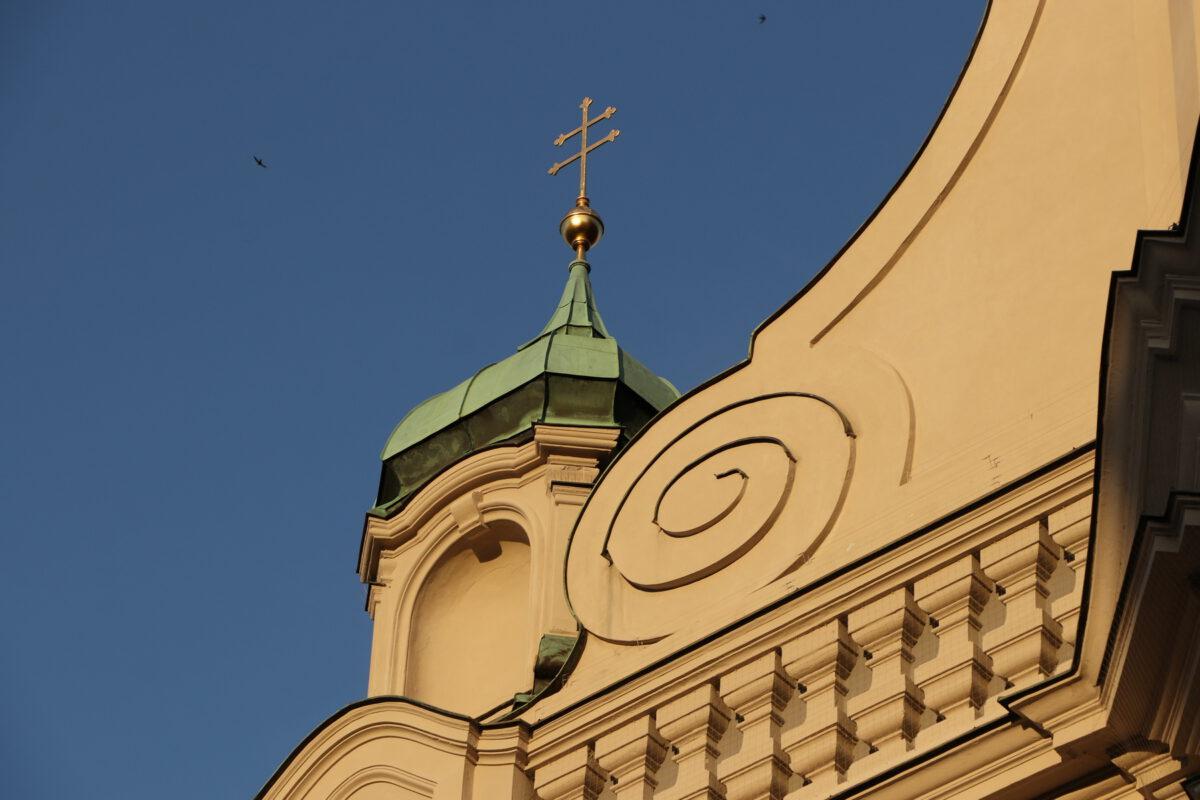 Fassade der Heiliggeistkirche in München in der Abendsonne