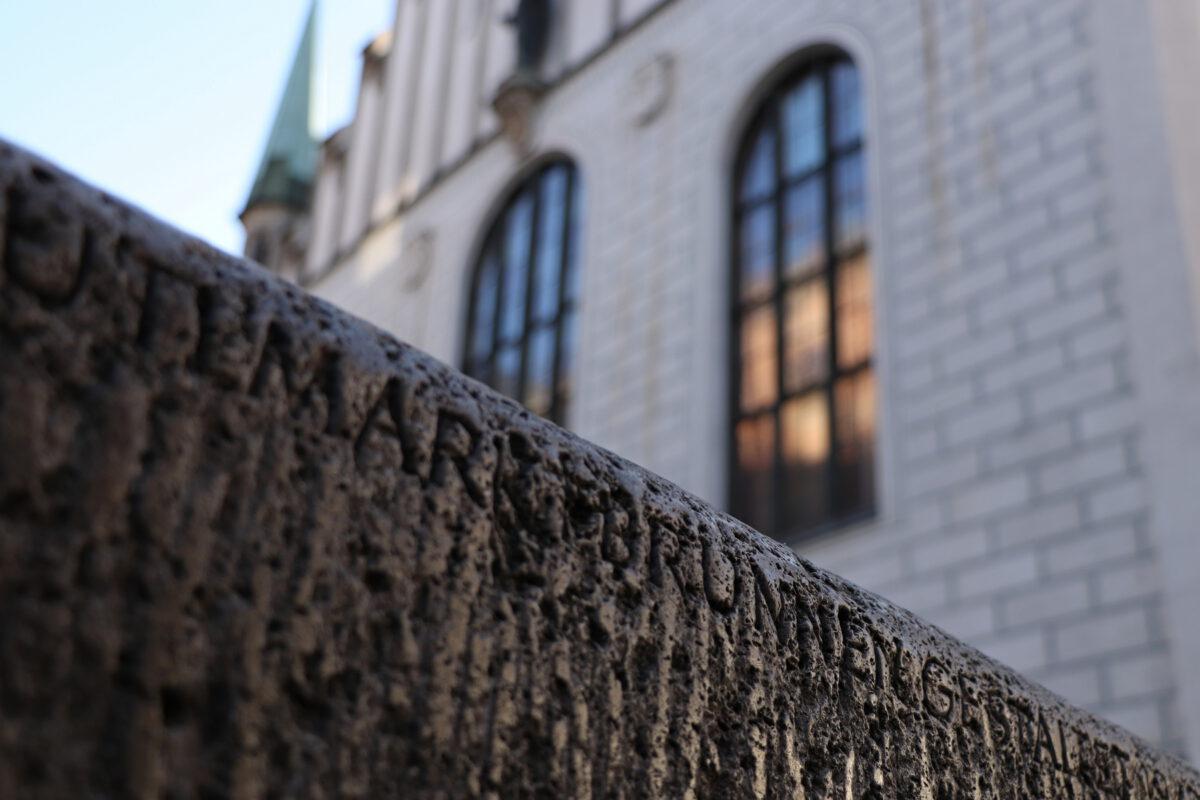 Brunnen Details auf dem Marienplatz in München