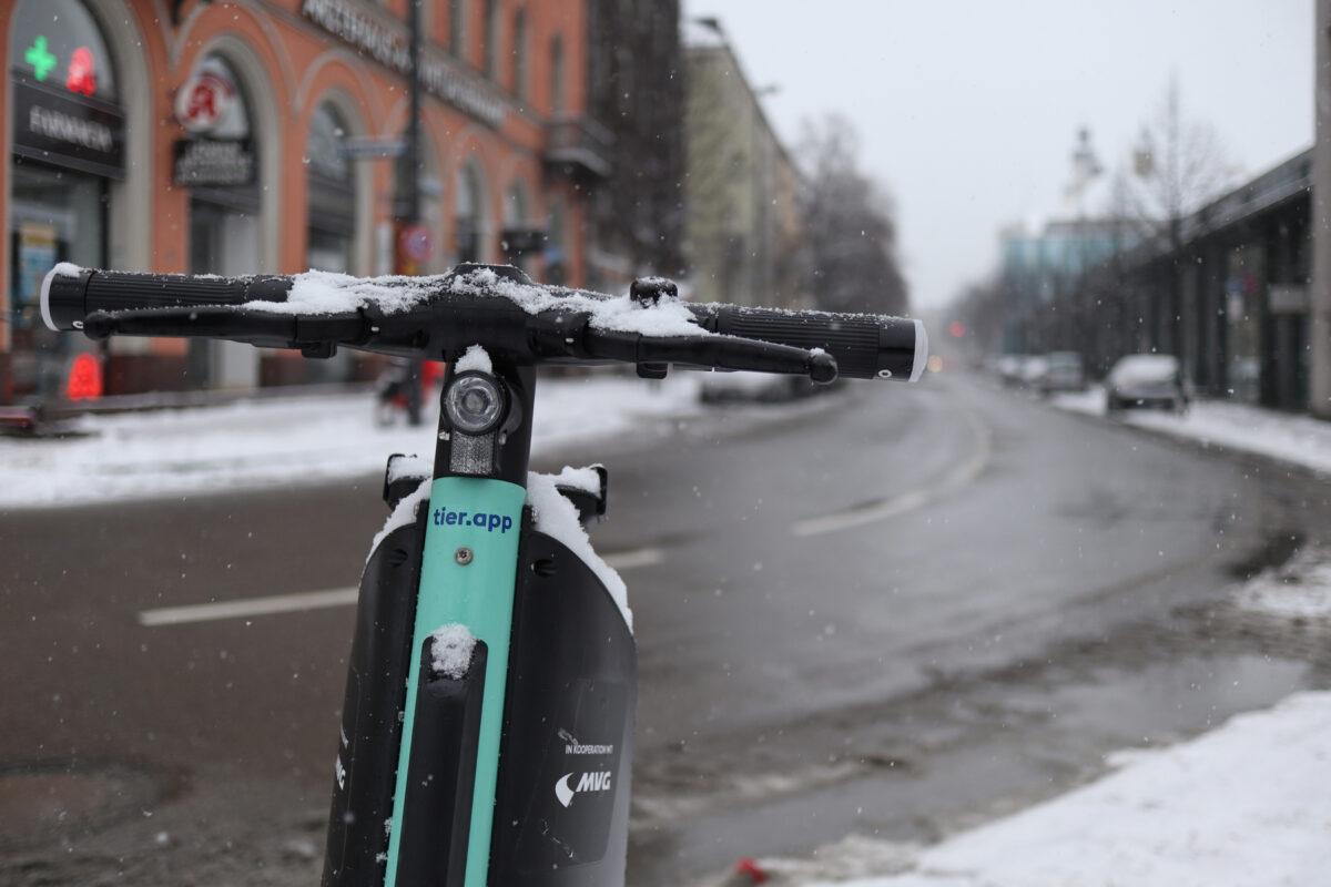 Die Blumenstraße in München im Schnee