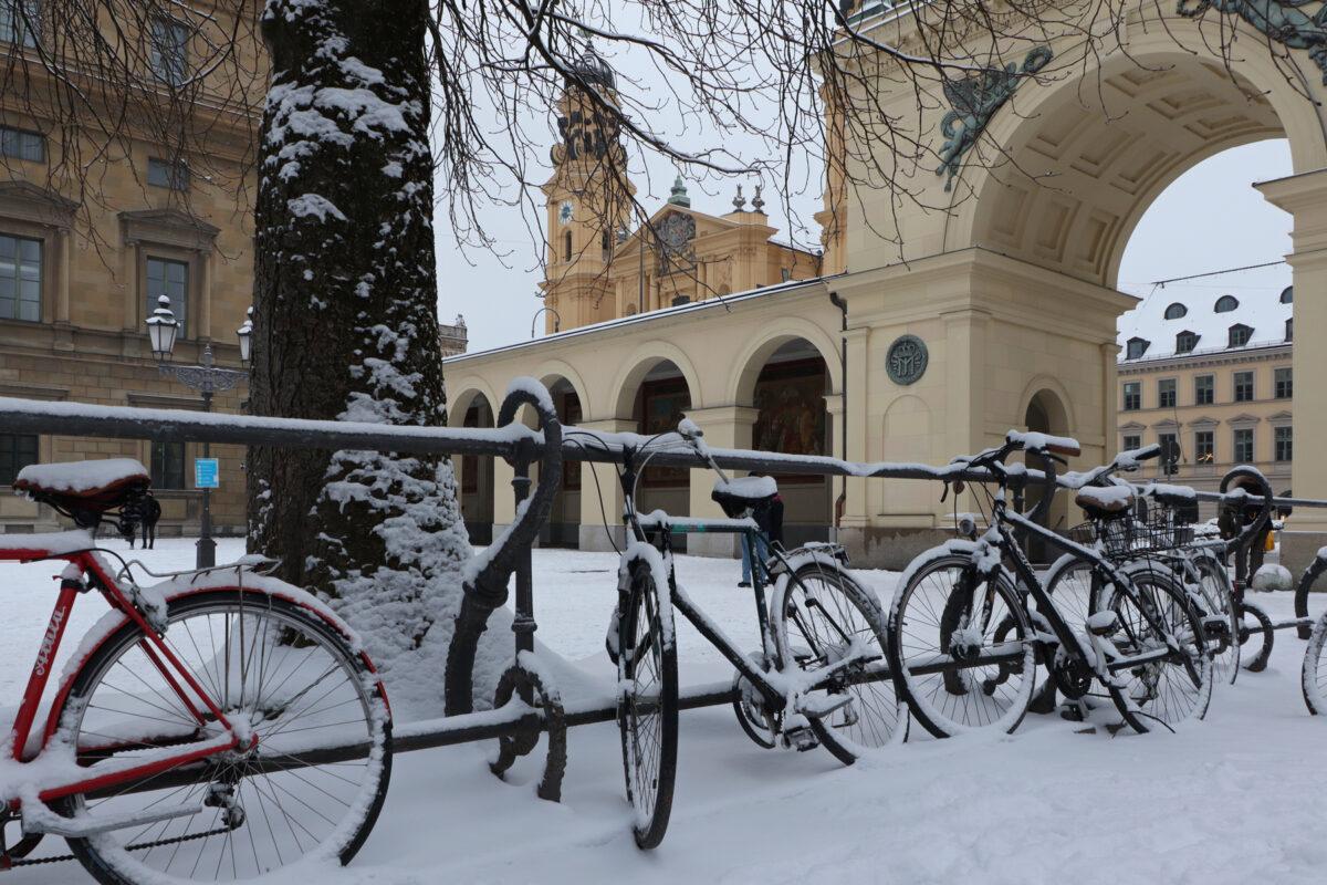 Der Hofgarten in München im Schnee