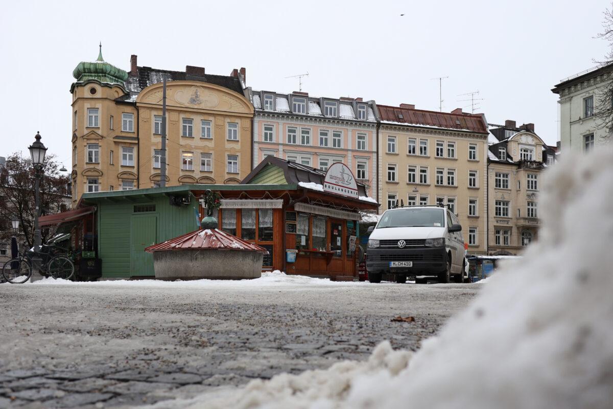 Der Wiener Platz in München im Winter