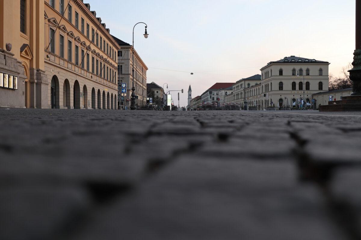 Der Odeonsplatz in München zu Sonnenaufgang